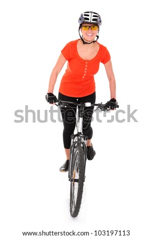 A picture of a young woman riding a bike over white background