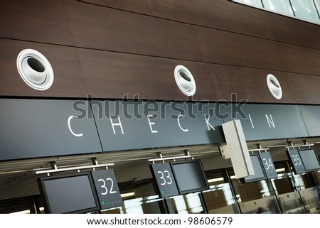 A picture of brand new check in counters at the airport