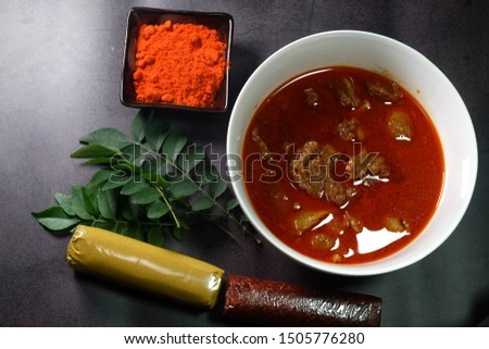 "A picture of ""daging gulai kawah"" or sweet cauldron curry meat with the ingredient. It is famous in Malaysia especially  Kelantan."