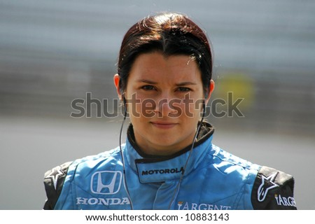 A picture of Danica Patrick with game face on as she waits to qualify for the Indianapolis 500 pole position