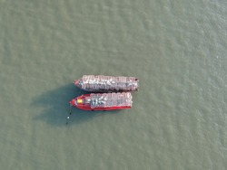 A picture of fishermen boats with crab cage on top on the boat for crab hunting in Mersing,Johor.