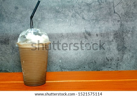 A picture of ice blended mocha on the table  #1521575114