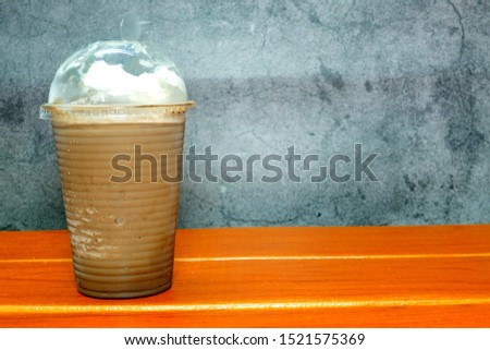A picture of ice blended mocha on the table  #1521575369