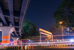 A picture of light trails show in New Delhi, India.