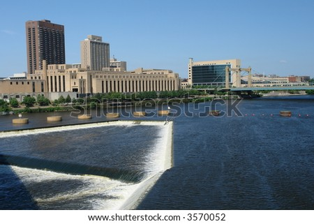 A picture of Minneapolis waterpower in downtown