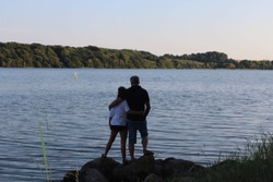 A picture of my parents, looking over Kolding Fjord.