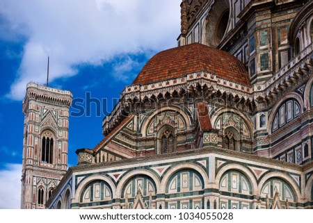 A Picture of one of the smaller domes on Santa Maria dei Fiori, Florence, Italy, with Brunelleschi's Campanile in the background.