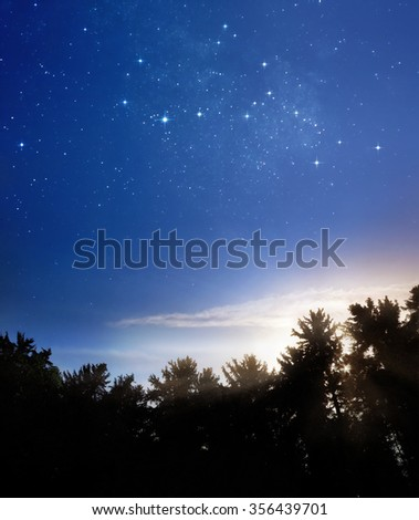 A picture of rising sun and fading stars of Milky Way #356439701