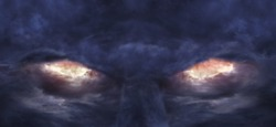 A picture of stormy clouds that formed the image of scary devil face