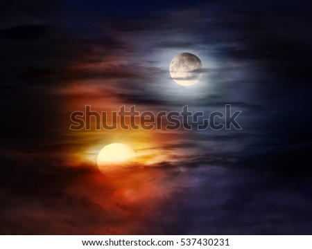 A picture of sun and moon on the cloudy sky forming Yin Yang balance symbol #537430231