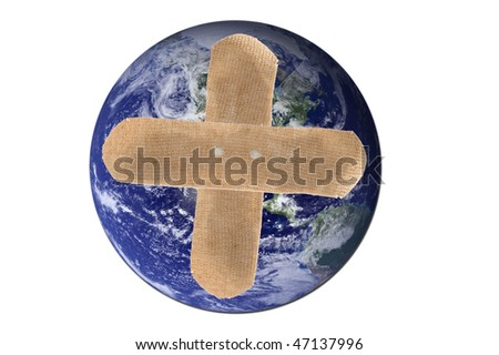 A picture of the earth with two band-aids forming a cross isolated on white. Earth picture is taken from NASA.