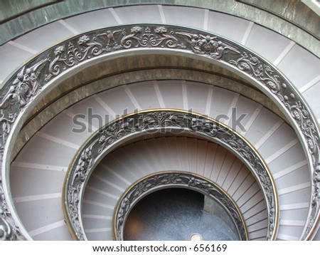 A picture of the spiral staircase exit inside the Vatican.