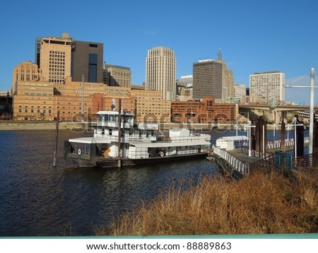 A picture of the St. Paul Minnesota skyline across Mississippi River