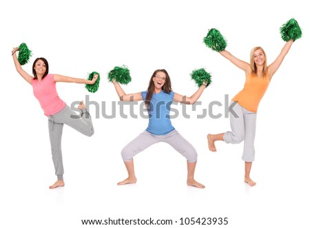A picture of three young cheerleaders posing over white background