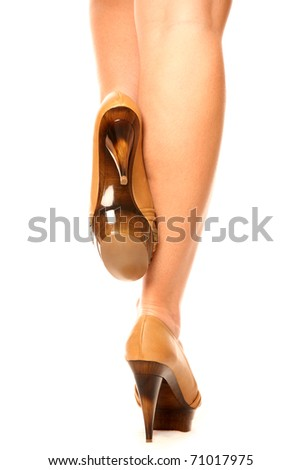 A picture of trendy high heeled shoes presented over white background