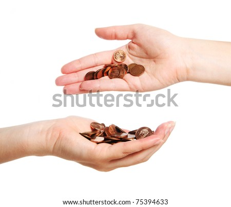 A picture of two hands full of coins over white background