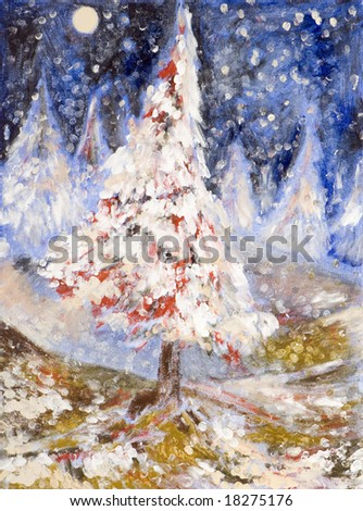 a picture representing a romantic christmas tree under the falling snow