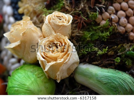 A picture showing several dried flowers and various vegetables