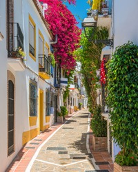 A picturesque and narrow street in Marbella old town, province of Malaga, Spain.