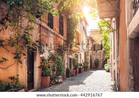 stock photo a picturesque street in the historic trastevere district rome italy 442916767 - Каталог — Фотообои «Улицы, переулки»