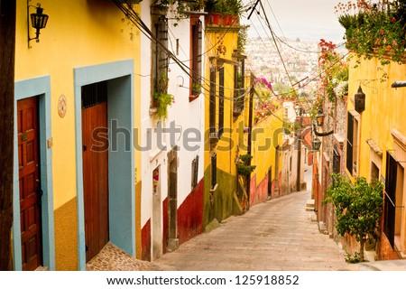 A Picturesque Street Scene In Charming San Miguel De