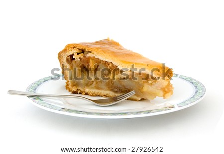 A piece of apple pie on a white background