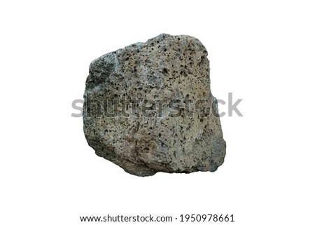 A piece of basalt rock stone  isolated on white background.  Stock photo ©