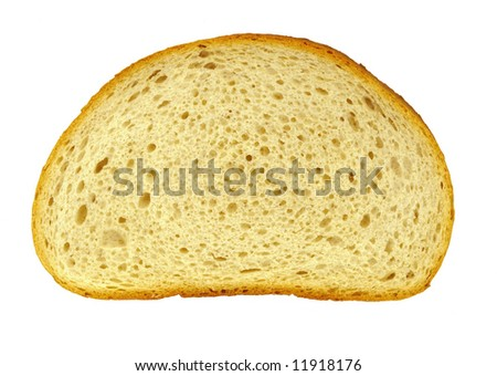 A Piece of bread on a white background