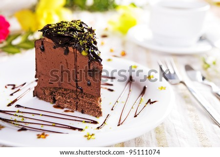 A piece of chocolate cake
