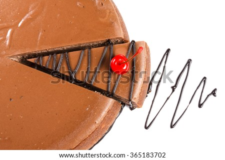 A piece of chocolate cake drizzled with sauce and decorated with cherry.