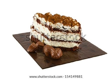 a piece of chocolate cake of chocolate candies