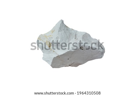 A piece of Diatomite sedimentary rock isolated on white background. non-metallic mineral composed of the fossilised skeletal remains of microscopic single-celled aquatic plants called diatoms. Stockfoto ©