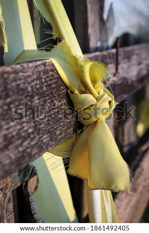 a piece of old garment clout knotted  in abandoned gardens Stockfoto ©