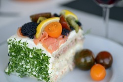 A piece of Swedish  sandwich layer cake