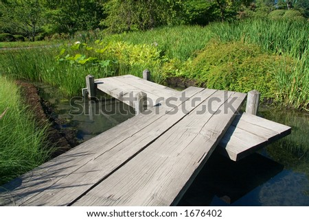 A pier from the Japanese Garden at the Montreal Botanical Gardens.