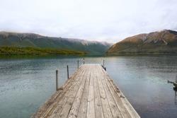 A pier on Lake Rotoito, New Zealand