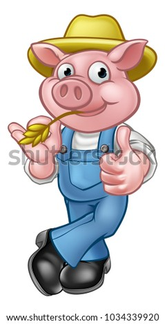 A pig cartoon character with straw hat giving thumbs up. Could be a farmer or the one of three little pigs who built his house of straw