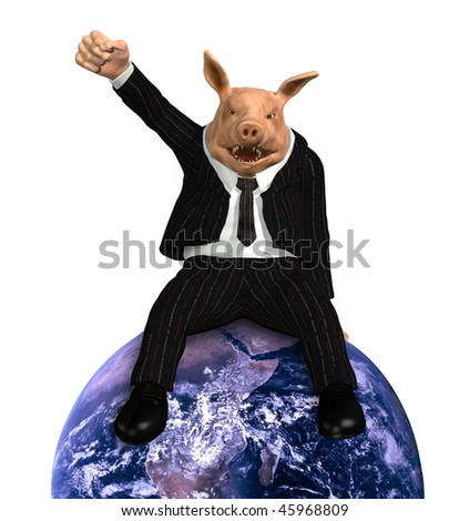 A pig dressed in a business suit sits on top of an earth globe, with his fist raised in victory - 3D render. Earth photo courtesy of NASA.