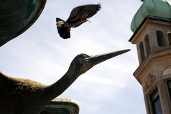A pigeon is flying over a bird statue in Copenhagen.