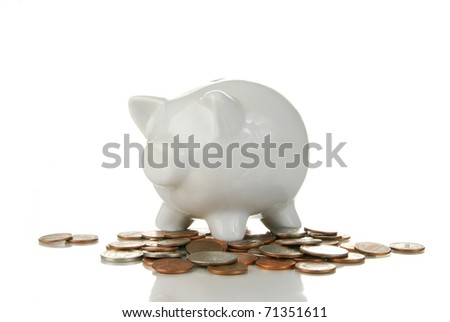 A piggy bank on a white background with coins under it