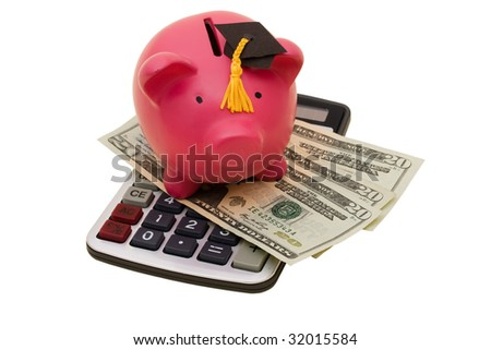 A piggy bank wearing a graduation cap with twenty dollar bills and calculator on a white background, increased education costs