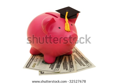 A piggy bank wearing a graduation cap with twenty dollar bills on a white background, increased education costs