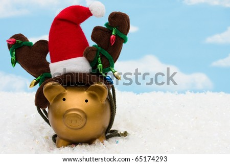 A piggy bank with a santa hat, reindeer antlers and christmas lights on a sky background, christmas savings