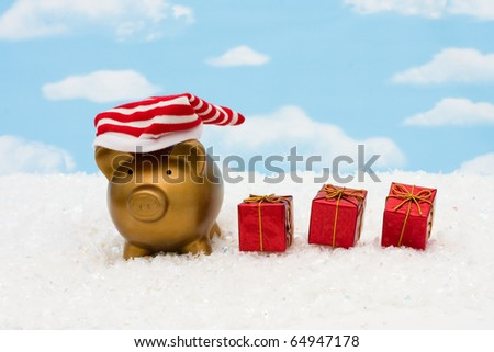 A piggy bank with a striped hat on a sky background, christmas savings