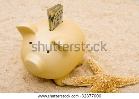 A piggy bank with starfish on a sand background, vacation savings