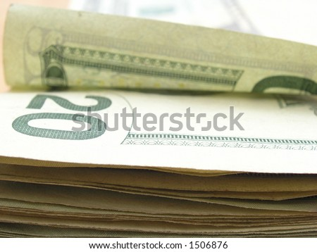 A pile of American $20 bills.