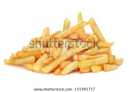 a pile of appetizing french fries on a white background