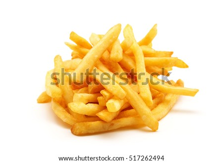a pile of appetizing french fries on a white background #517262494