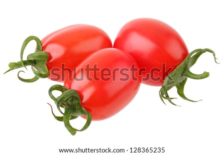 a pile of baby plum tomatoes on a white background
