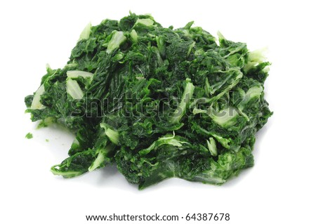 a pile of boiled spinach isolated on a white background
